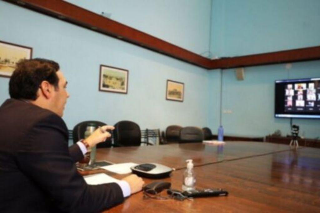 Gustavo Valdés, gobernador de Correintes, en videoconferencia Crédito: Gentileza