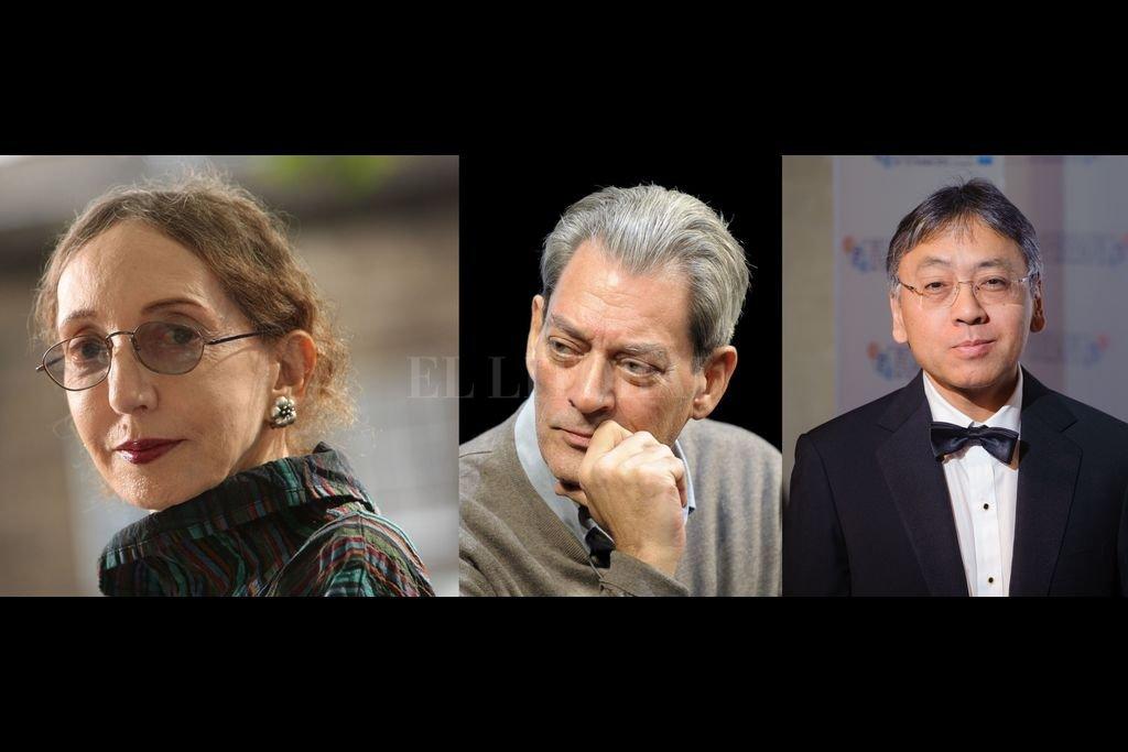 Joyce Carol Oates, Paul Auster y Kazuo Ishiguro: tres autores de reconocimiento mundial que en 2021 llegarán a los lectores con textos nuevos. Crédito: Archivo El Litoral
