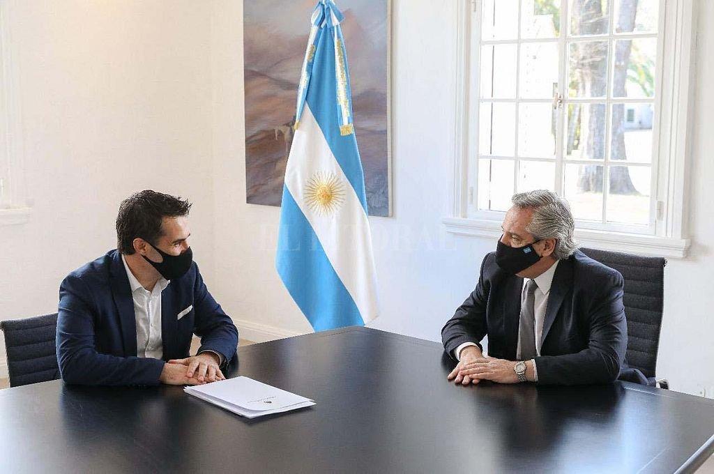 El secretario de Energía, Darío Martínez, con el presidente Alberto Fernández. Crédito: Telam