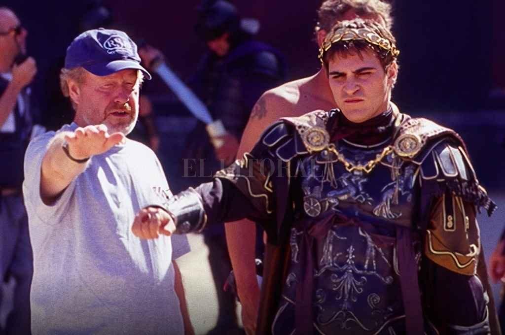 Joaquín Phoenix y Scott Ridley en el rodaje de