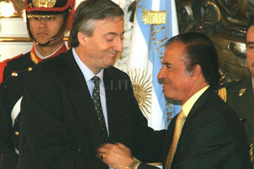 1998. Kirchner gobernador, Menem presidente.  Crédito: Archivo El Litoral