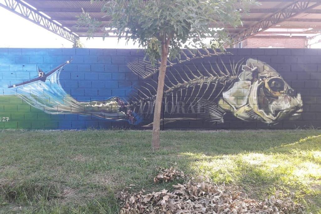 Uno de los murales creados durante la primera edición, realizada el año pasado. Crédito: Gentileza Kumelén Arte Público