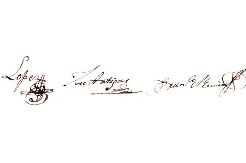 Las firmas de los caudillos federales López, Artigas y Ramírez.  Crédito: Archivo El Litoral