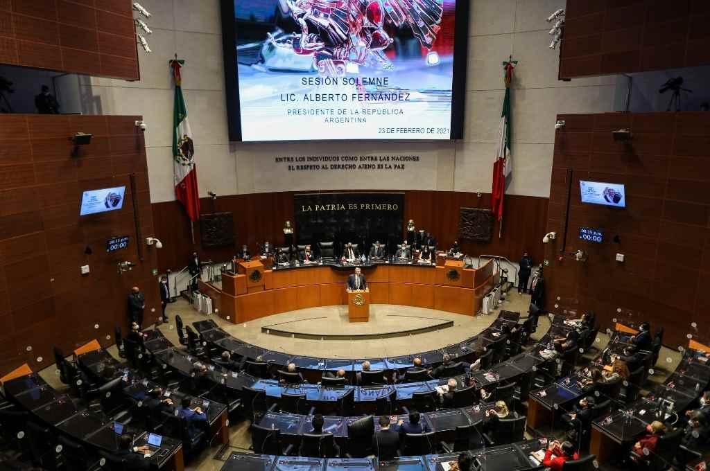 Entre las actividades del presidente argentino, se contó una disertación en el Senado.    Crédito: Gentileza