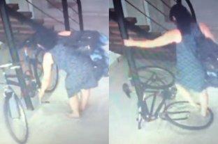 Video: fue filmada rompiendo la bicicleta de un vecino