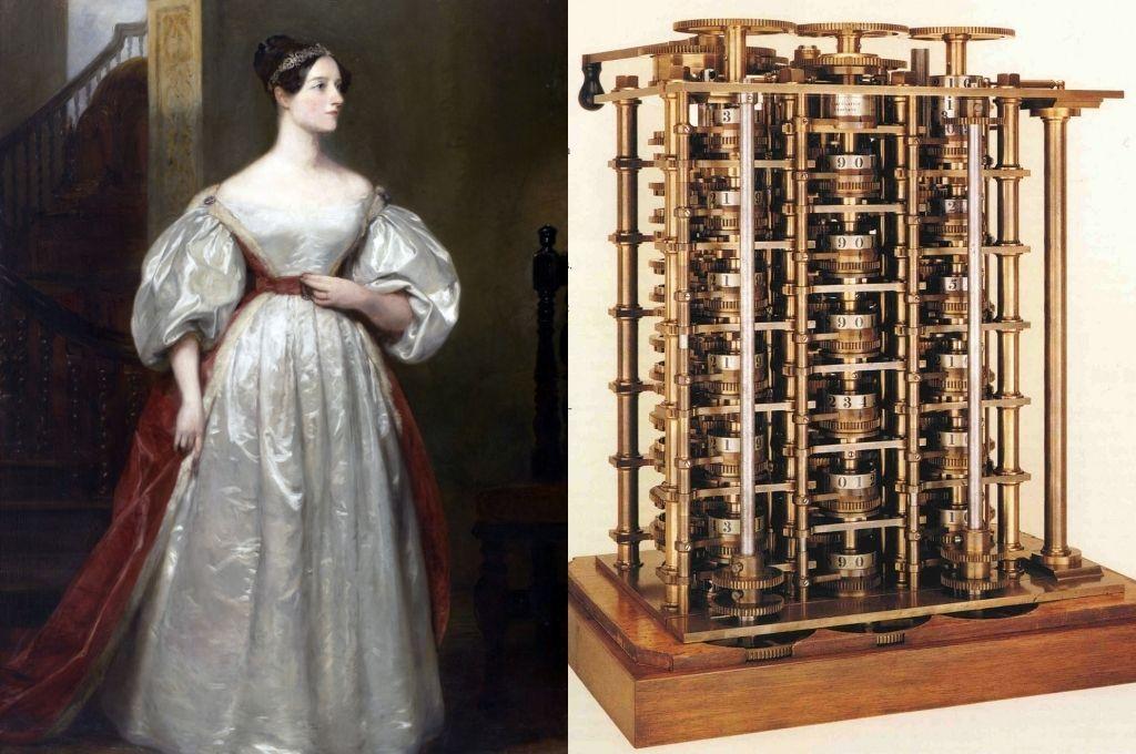 Lady Augusta Ada, condesa de Lovelace, hija del poeta inglés Lord Byron. - Máquina diferencial de Babbage. Crédito: Archivo