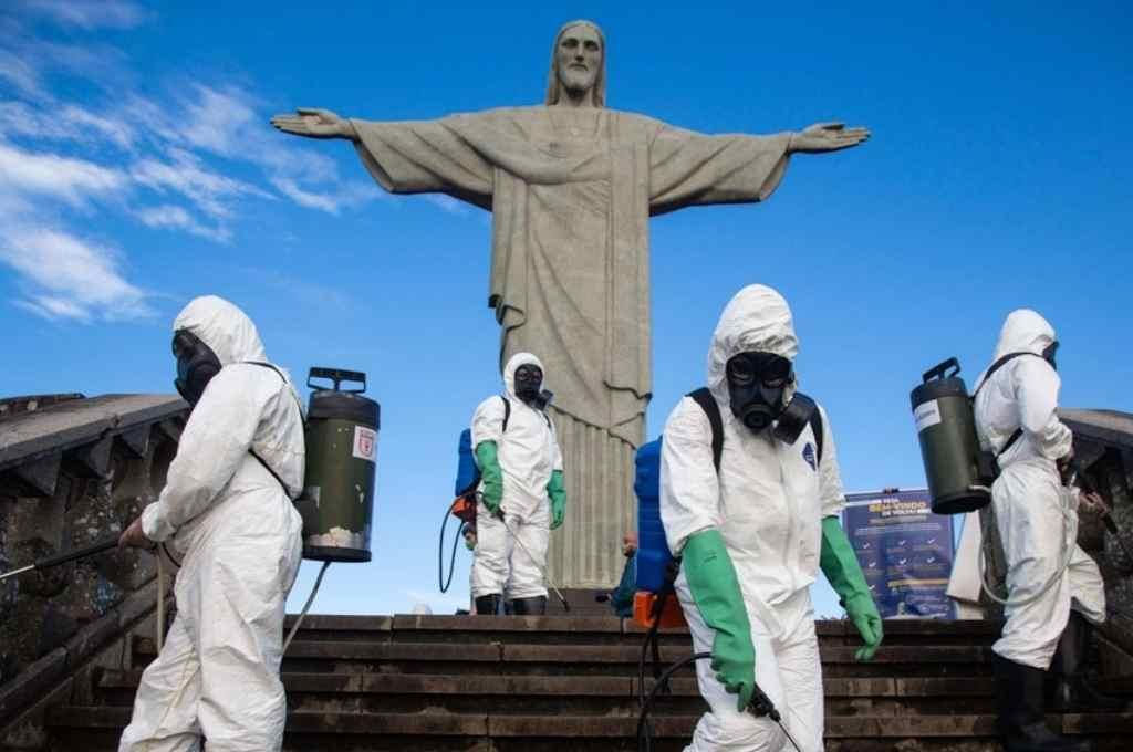 Cristo Redentor. Medidas sanitarias preventivas en las inmediaciones del máximo emblema turístico de Brasil.     Crédito: Gentileza