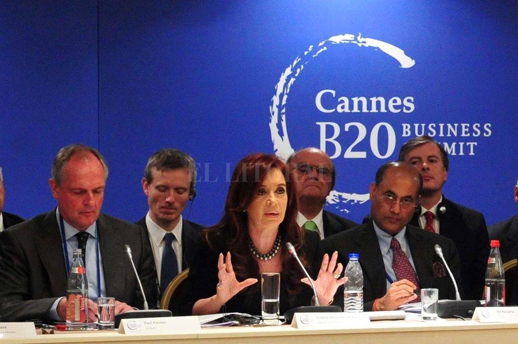 Cristina Fernández de Kirchner en la Cumbre del G-20 en Cannes, el 3 de noviembre de 2011. Su discurso es testimonio y memoria para el sur santafesino. Crédito: Archivo El Litoral