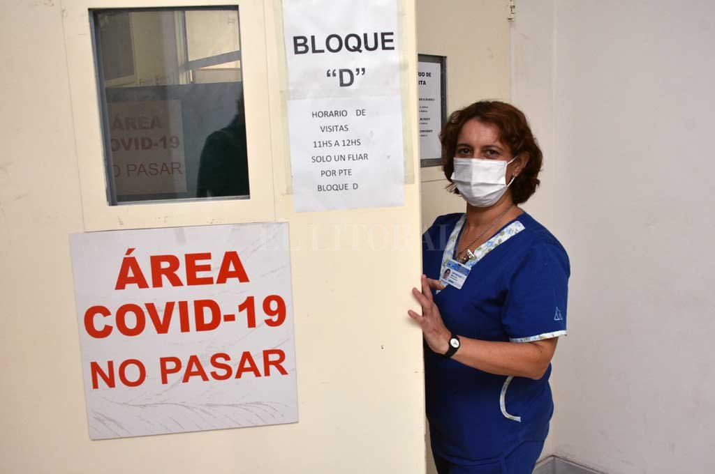 Alejandra Loza, enfermera del Área Covid (Bloque D). Crédito: Flavio Raina