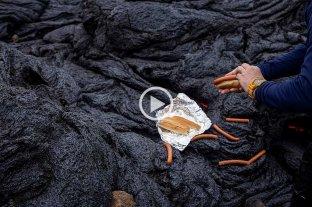 Islandia: asaron salchicas sobre la lava del volcán y se volvieron virales