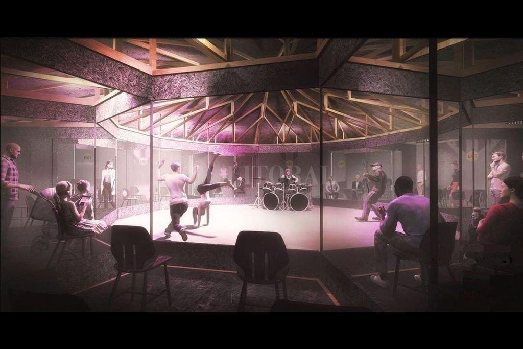 Una ilustración de cómo se verá un espectáculo desde una de las cabinas, garantizando el distanciamiento entre espectadores y de estos con los artistas. Crédito: Gentileza Black Circle