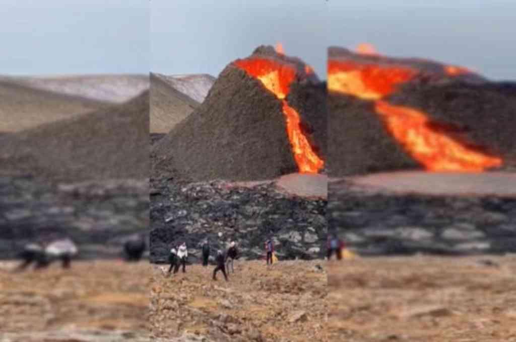 El volcán Fagradalsfjall hace erupción mientras juegan Vóleibol con una pelota. Crédito: Captura de video