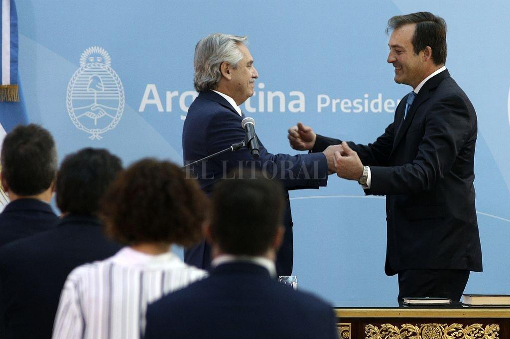 Alberto Fernández le tomó juramento a Martín Soria. Crédito: NA