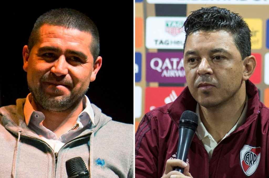 Luego del superclásico Riquelme habló de River, y Gallardo le respondió ayer tras la práctica del Millonario.    Crédito: Gentileza
