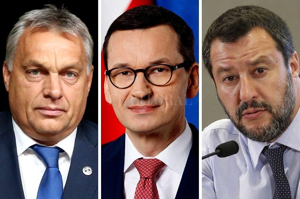 Los primeros ministros de Hungría, Viktor Orban, y de Polonia, Mateusz Morawiecki, y el exministro del Interior de Italia Matteo Salvini. Crédito: Captura digital