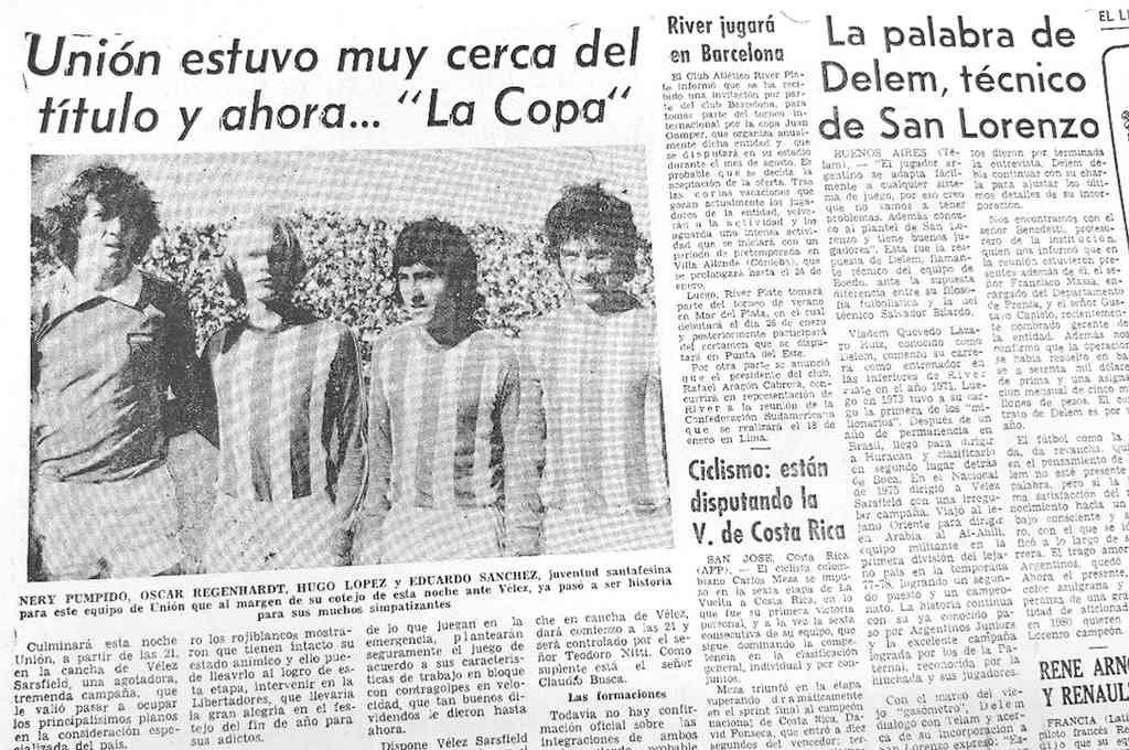 El anuncio que hizo El Litoral aquel 30 de diciembre de 1979, cuando Unión y Vélez se medían en el partido revancha en el Amalfitani. Había sido 0 a 0 en la avenida y fue 3 a 0 para Vélez en la revancha. Crédito: Archivo