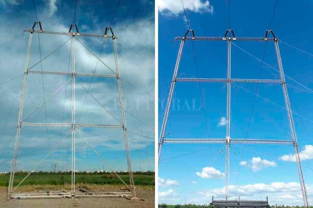 Antes y después. Nuevamente vandalizaron instalaciones de alta tensión de la EPE en el Río Salado. Crédito: El Litoral