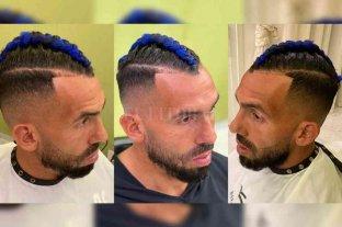 """Tevez se """"pintó"""" el pelo de azul para jugar ante Unión"""