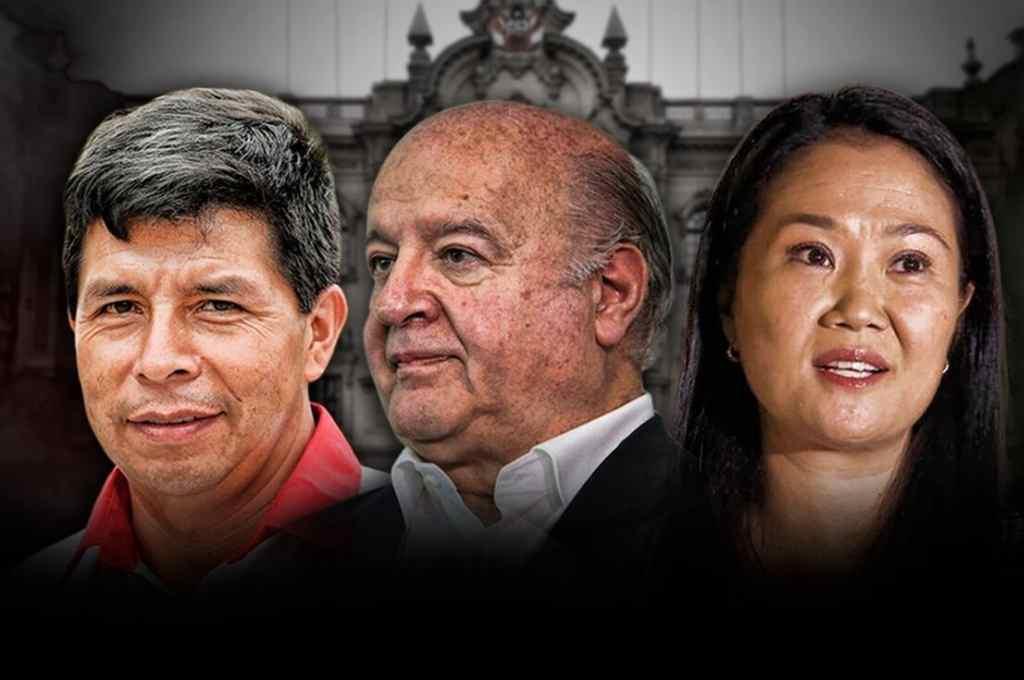 Pedro Castillo, Hernando de Soto y Keiko Fujimori. Solo dos de ellos irán al ballotage.    Crédito: Gentileza