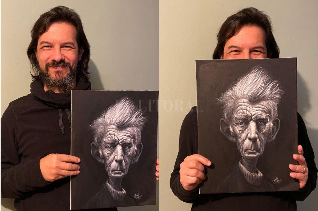 Luis Gaspardo junto a su ilustración de Samuel Beckett, una de sus últimas obras. Crédito: Luis Gaspardo