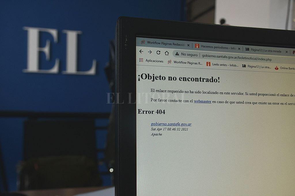 El lugar de acceso al Boletín Oficial de la provincia con problemas en la web desde hace varios días. Crédito: Guillermo Di Salvatore