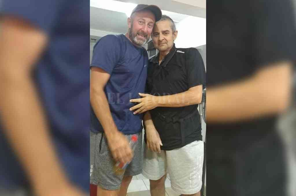 Luis Tomé y Dante Fernández, compañeros en Unión en aquel ascenso de 1989 y amigos para toda la vida. Crédito: Gentileza