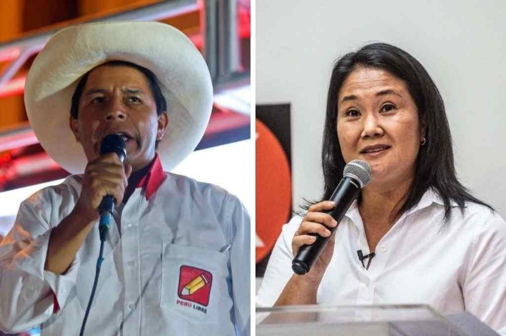 Pedro Castillo y Keiko Fujimori, candidatos a la presidencia de Perú.   Crédito: Gentileza