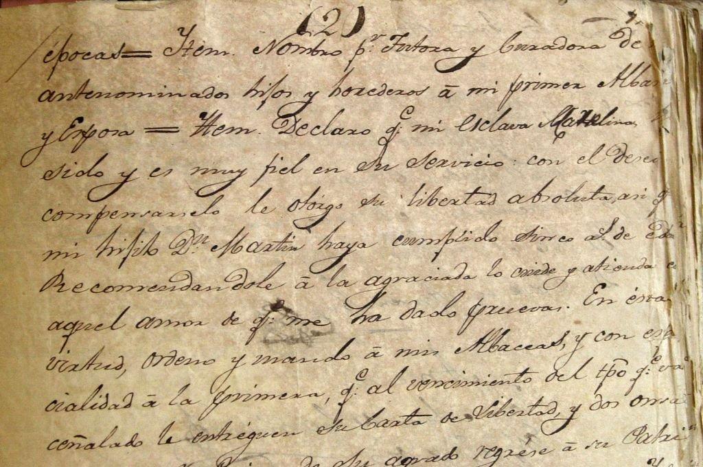 Testamento del Brigadier Gral. Estanislao López, en el que le otorga la libertad a su esclava Marcelina. Crédito: Archivo El Litoral