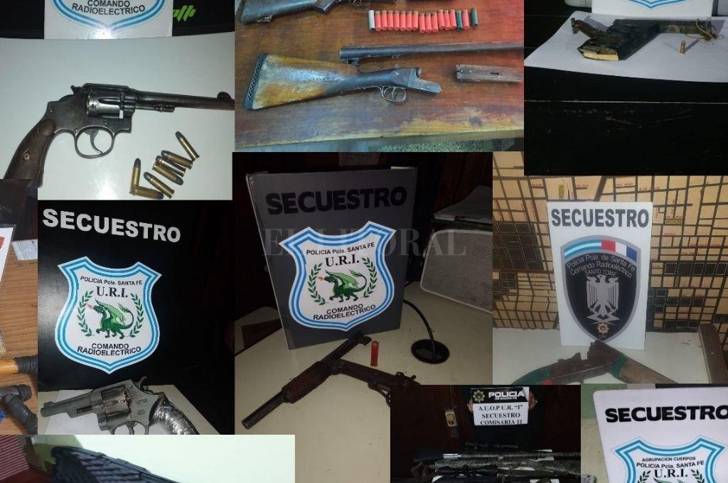 Algunas de las armas secuestradas en los distintos procedimientos. Crédito: El Litoral