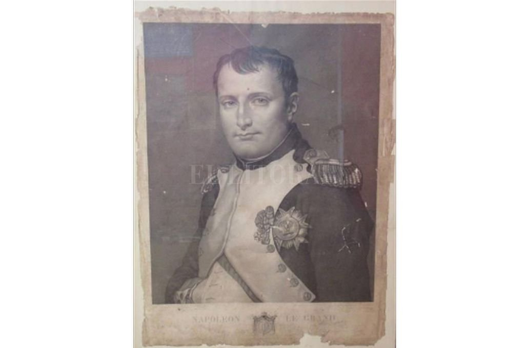 Grabado que representa a Napoleón Bonaparte según David, similar al que poseía Estanislao López.  Crédito: Gentileza