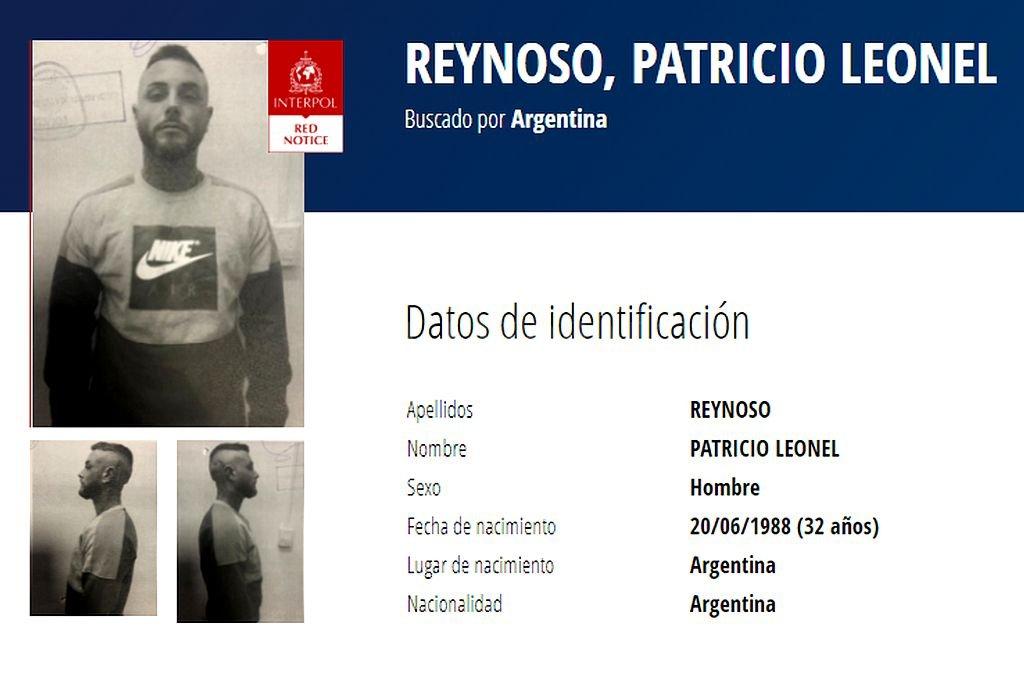 Alerta roja de Interpol para dar con el prófugo Patricio Reynoso. Crédito: Captura digital