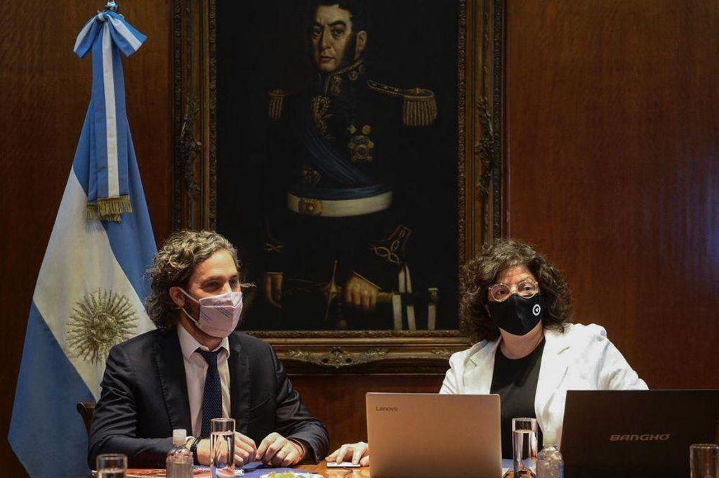 Santiago Cafiero y Carla Vizzotti participan de la reunión. Crédito: Gentileza