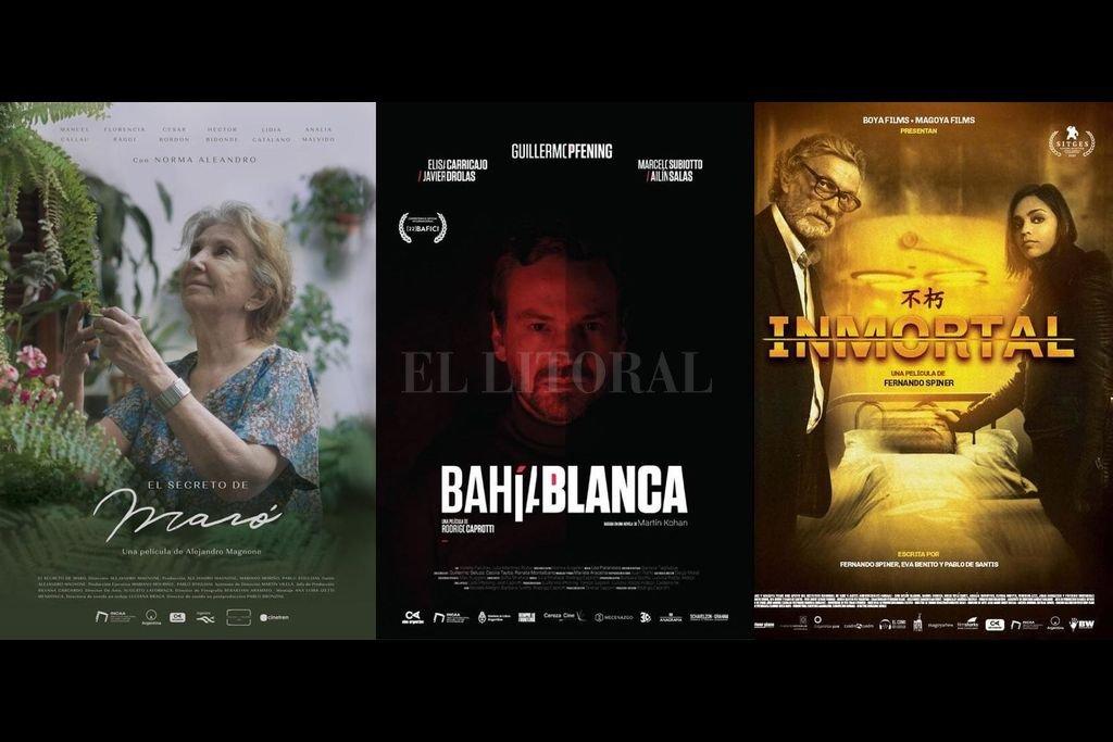 Los afiches de algunas de las películas que tomarán contacto con el público en las próximas semanas o meses. Crédito: Stigliani Mouriño Cine / Cereza Cine / Boya Films