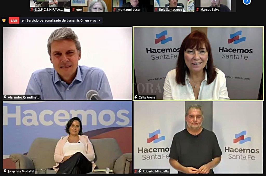Grandinetti, Arena, Mudallel y Mirabella fueron los principales oradores en el lanzamiento del nuevo espacio justicialista.  Crédito: Hacemos Santa Fe.