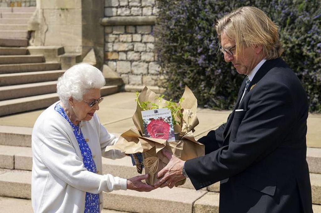 La reina recibió la Rosa Duque de Edimburgo por parte de Keith Weed, presidente de la Royal Horticultural Society, en el castillo de Windsor. Crédito: PA Media