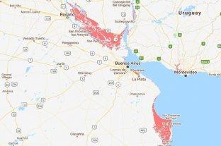 Ocho lugares de América Latina podrían quedar bajo agua para 2100 - Algunas áreas de Buenos Aires y Entre Ríos que podrían quedar bajo el agua, según el estudio