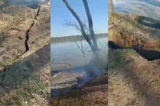 Video: increíble desmoronamiento de la barranca en el río Paraná por la bajante