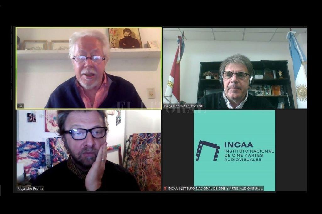 Puenzo, Llonch y el productor ejecutivo del Incaa, Alejandro Puente, gestor del encuentro. Crédito: Gentileza Cultura Santa Fe