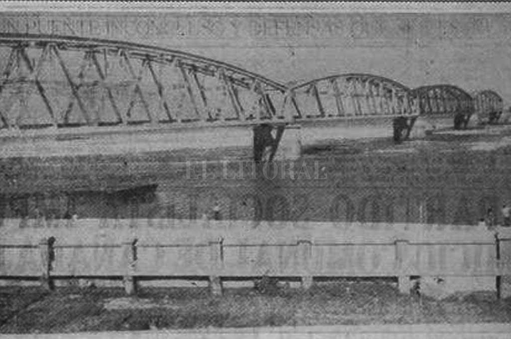 Así lucía el puente ferroviario sobre la Laguna Setúbal en 1938 Crédito: Hemeroteca Digital de Santa Fe / Diario El Orden