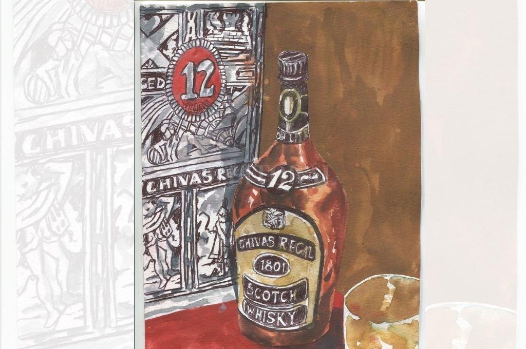 Durante el aperitivo se compartía el jerez, la ginebra y el whisky con una picada de chorizo en grasa que a don Manuel habitualmente le obsequiaban unos amigos tamberos de la zona de Rafaela. Crédito: Ilustración Lucas Cejas
