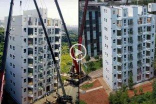 Video: construyen un edificio de 10 pisos en poco menos de 29 horas