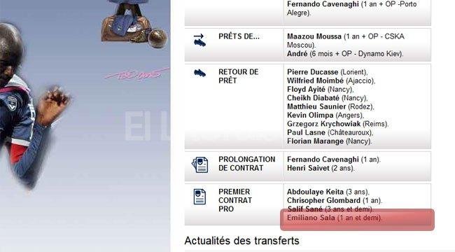El sitio oficial del club Bordeaux francés oficializó en su sitio web la contratación del juvenil argentino. Crédito: Página oficial club Bordeaux