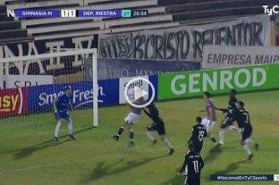 Bochornoso: el gol que le anularon a Gimnasia de Mendoza vs Riestra por una supuesta mano