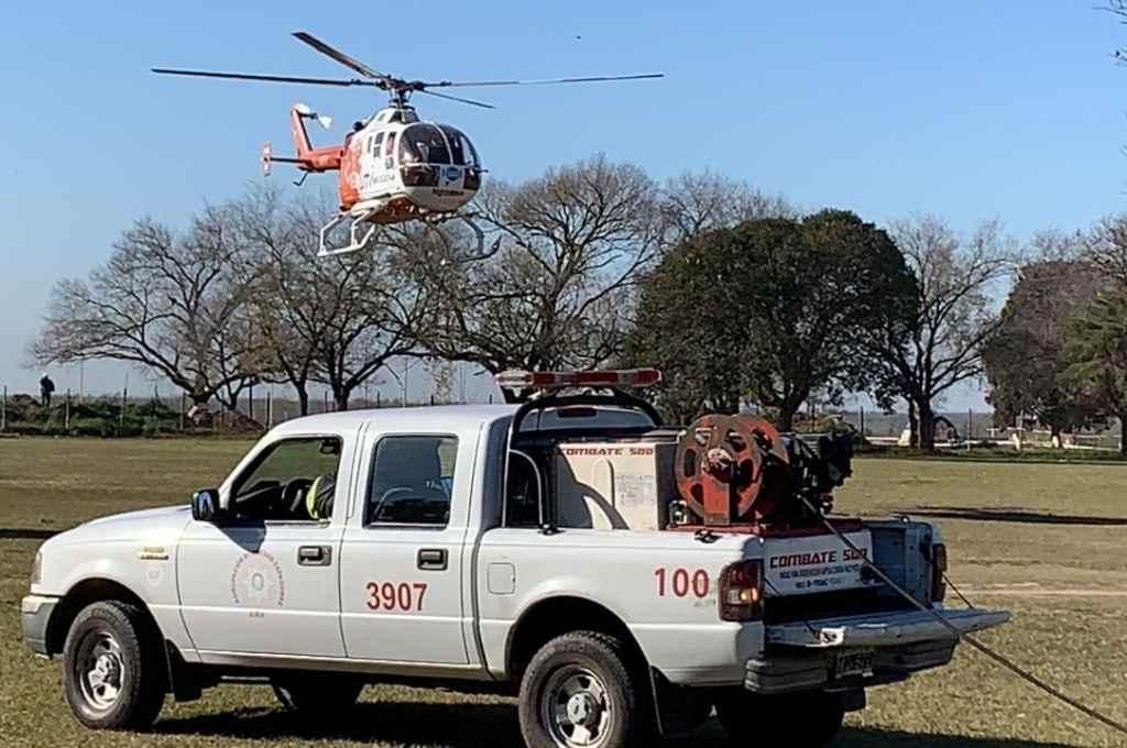Además del helicóptero, en el operativo intervendrán ambulancias, motos, unidades de logística y de bomberos.    Crédito: Gentileza