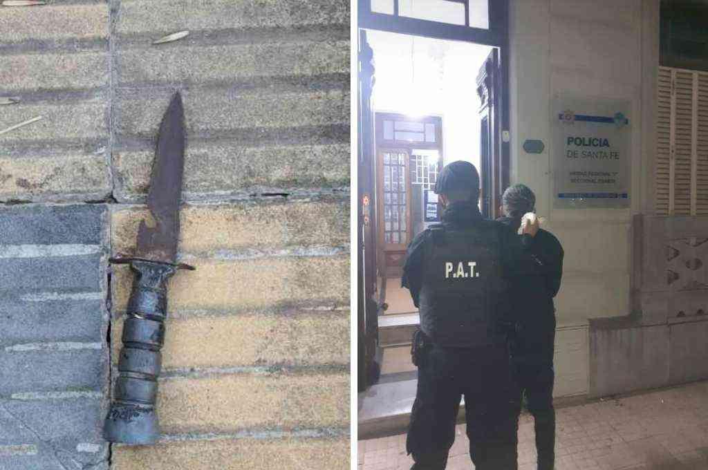 El traslado del joven a sede policial y el cuchillo de secuestro. Crédito: El Litoral