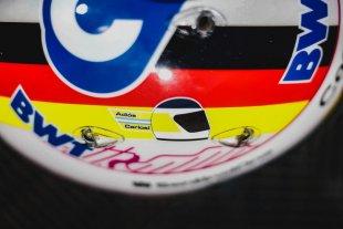 Vettel lució un casco alusivo a Reutemann en prácticas de Fórmula 1 en Gran Bretaña
