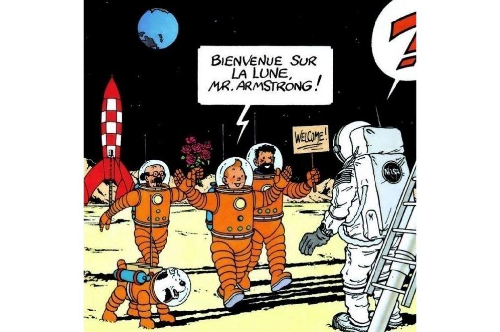 En 1969 Hergé publicó un dibujo de Tintín y sus amigos dándoles la bienvenida a Neil Armstrong y Edwin Aldrin en la superficie de la Luna. Ponía así punto final a la aventura imaginada casi veinte años antes. Crédito: Archivo