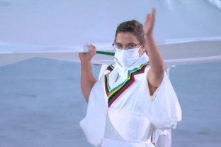 Paula Pareto portó la bandera olímpica en la ceremonia inaugural
