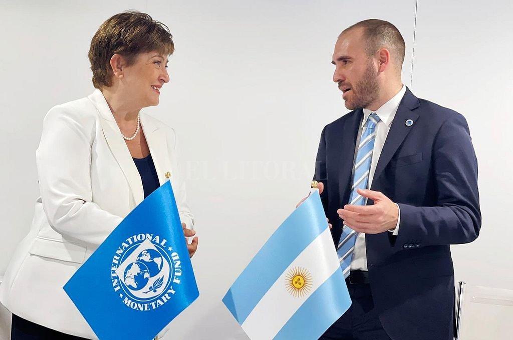 La titular del FMI, Kristalina Georgieva, y el ministro de Economía de la Nación, Martín Guzmán. Crédito: NA