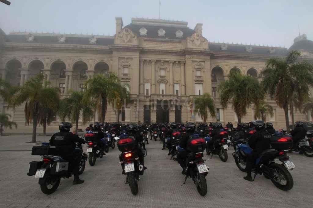 La compra realizada de motos fue entregada en distintos puntos de la provincia. Lagna informó que habrá más compras.    Crédito: Mauricio Garín